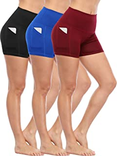 Cadmus Women's High Waist Stretch Athletic Workout Shorts Pocket
