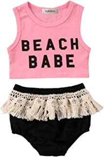 Infant Baby Girl Pink Beach Baby Corp Top and Crochet Lace Fringed Cotton Bloomer 2 pcs Set
