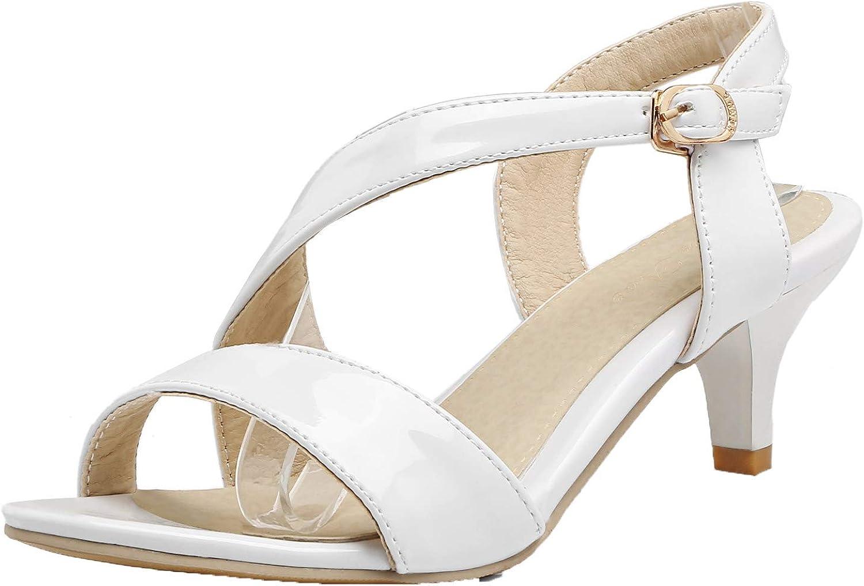 WeenFashion Kitten-Heels Solid Buckle Patent Leather Open-Toe Sandals, AMGLW008044