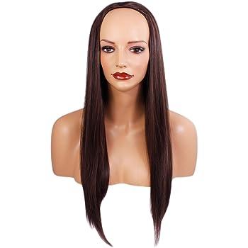 Media peluca de 3/4 para mujer - Marrón mediano # 6 - Recto - 22 ...