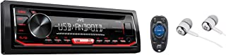 JVC KD-R492 Single DIN In-Dash CD AM/FM with Android Control Front Auxiliary & USB Inputs Car Stereo Receiver, Remote Control and Detachable Faceplate / Free ALPHASONIK EARBUDS