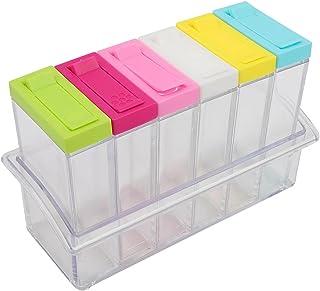 Boîte D'assaisonnement Transparente, Bocaux et Pots de Shaker à épices D'assaisonnement en Plastique, Ensemble de 6 Boîtes...
