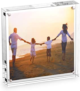 HESIN Acrylic Picture Frame 5 by 5 inch Double Sided Frameless Picture Frame Magnetic Acrylic Block Frame Desktop Photo Display Holder with Gift Box Package Thickness 12+12mm(5x5inch)