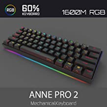 Anne Pro 2 Mechanical Gaming Keyboard 60% True RGB Backlit - Wired/Wireless Bluetooth 4.0 PBT Type-c Up to 8 Hours Extended Battery Life, Full Keys Programmable (Kailh Box Brown, Black)