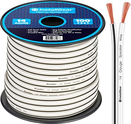 InstallGear 14 Gauge AWG 100ft Speaker Wire Cable - White