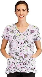 Women's Stretchy Printed V-Neck Medical Scrub Top