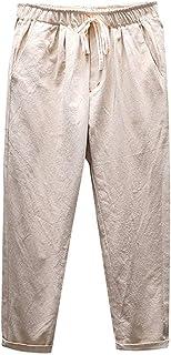 430e93c027414 Alaso Homme Pantalon en Mélange Coton Lin Coupe Large Décontracté Léger  Confortable Respirant Pantalon de Travail