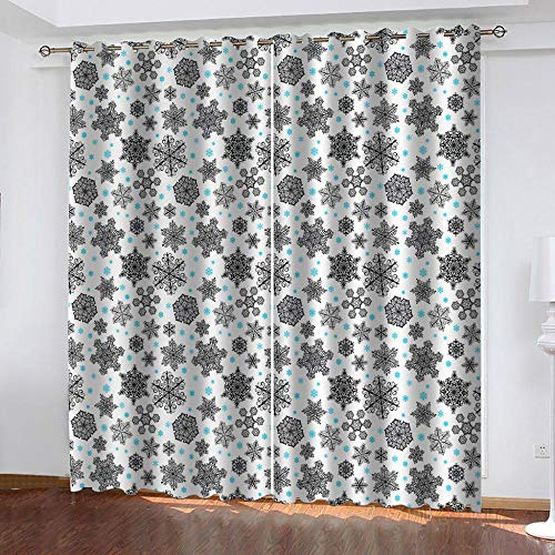 BHOMLY - Blackout Curtains For Kids Bedroom - 3D Printing Pattern - Creativity snowflakes cartoon 92.5x230cm Curtains Blackout Eyelet - Bedroom - Living Room - Nursery - 2 Panels