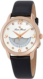Lucien Piccard Women's Bellaluna Stainless Steel Swiss-Quartz Watch with Leather Calfskin Strap, Black, 18 (Model: LP-40034-RG-02-BKSS)