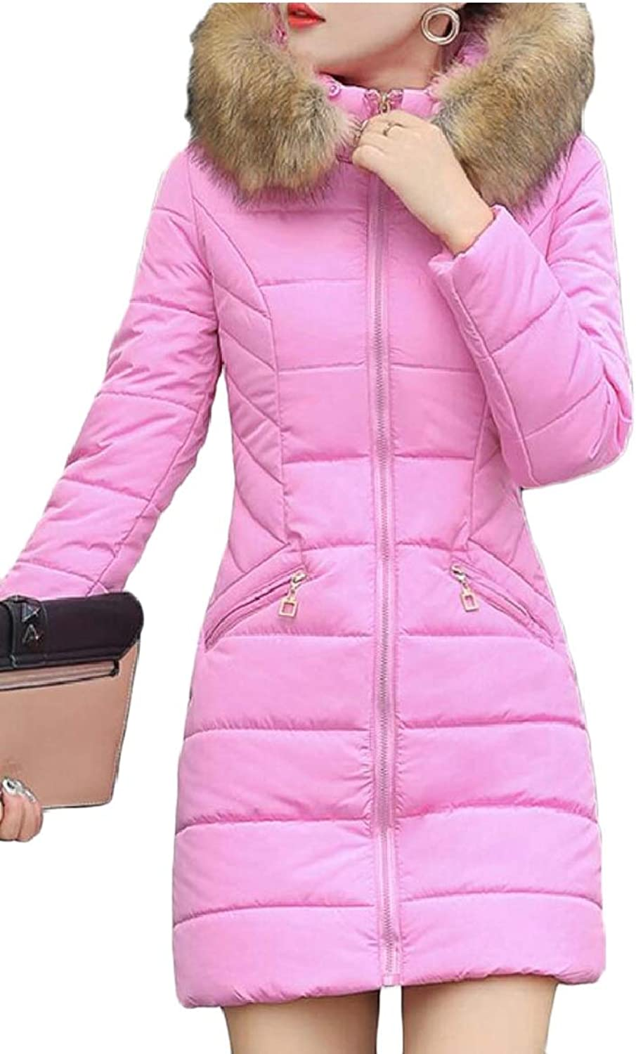Omniscient Women's Faux Fur Hood Coat Overcoat Winter Down Parka Long Puffer Jackets