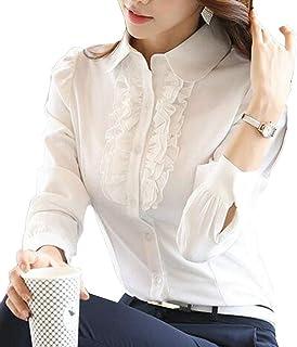 بلوزة نسائية MK988 بأكمام طويلة بأزرار سفلية عمل كشكشة مناسبة لشكل الجسم شيفون قميص علوي