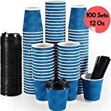Millet by R-Premium Disposable Coffee Cups with Lids & Stirring Straws 100 Sets 12 Oz-For Hot Beverages Good For Home, Office, Party- Insulated Leak-Free To Go Paper Coffee Cups with Fitted Lids