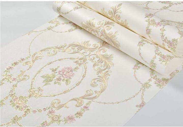 XFDJYA Papier Peint Rouleau De Papier Peint Rétro pour Salon Damascus Pastorale Floral Papier Peint Rouleau Décor à La Maison en Relief gaufrage