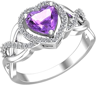 925 Real Sterling Silver Heart Shaped Gemstone Cubic Zirconia Womens Fine Ring