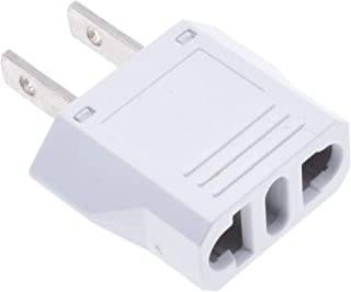 US Plug Adapter, European to American Adapter, Quality Flat European to American Outlet Plug Adapter, EU to US Adapter, White Universal Europe/Asia to USA/Canada Travel Power Plug Adapter