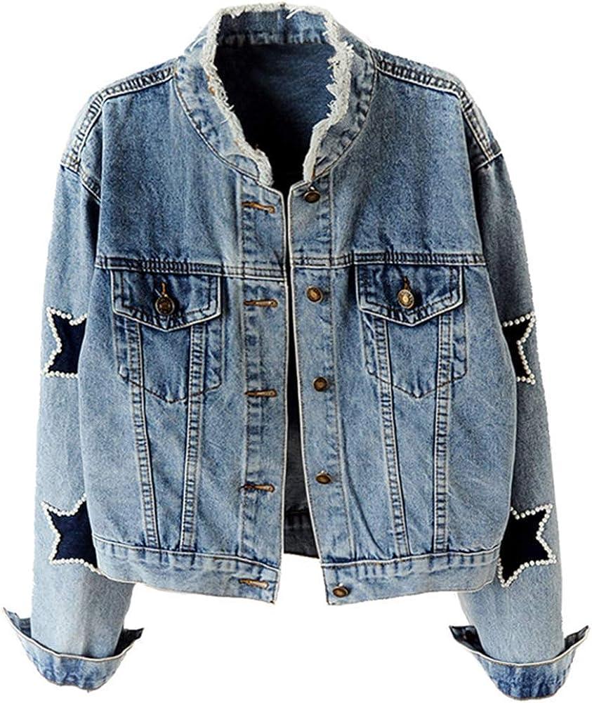 KEDERA Women's Star Embroidered Rivet Pearl Denim Jacket Coat