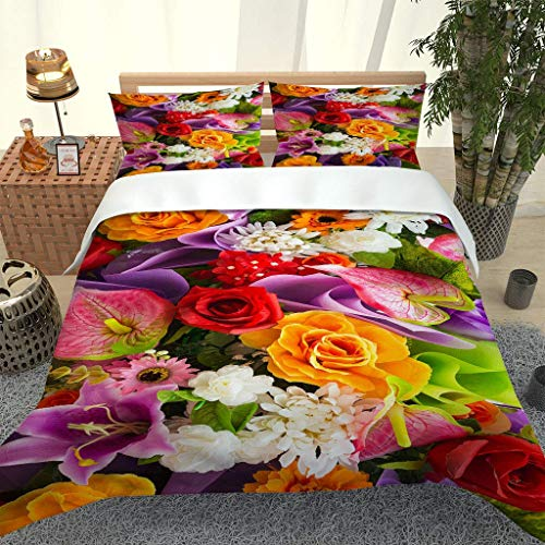 RQXRTR Super King Size Duvet Cover Sets 260X220cm 3 Pcs Colorful Floral Print Pattern Bedding Sets With Zipper Soft Easy Care Microfiber Quilt Covers, Teenager Adult Duvet Cover With 2 Pillowcases