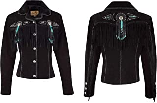 Women's Suede Fringe and Beaded Leather Jacket