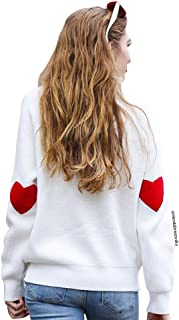 Women's Comfy Casual Long Sleeve Heart Shape Patched Grey/White/Navy Knit Top Pullover Sweater