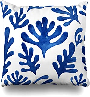 DIYCow Throw Pillows Covers Tropical Watercolor Christmas Floral Pattern Amazing Blue Plant Trees On Matisse Nature Winter Leaves Home Decor Pillowcase Square Size 16 x 16 Inches Cushion Case