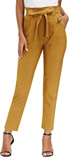 Yidarton Damen Hose High Waist 9/10 Elegant Bleistifthose Casual Carpi Hose mit Taschen