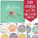 First Year Baby Memory Journal Book + Bonus Monthly Milestone Stickers. Baby Shower & Keepsake to Record Photos & Milestones. Five Year Scrapbook & Picture Album for Boy & Girl Babies. (Floral)