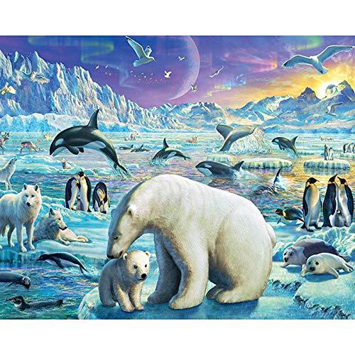 Diamond Painting Kit Completo 30x40cm Pingüino Oso Polar Punto de Cruz Diamante Niños Bordado 5d Pintura Diamante Adultos Cristal Pintar con Diamantes para Decoración de la Pared del Hogar