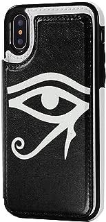 Zokiy ホルスの目Raエジプトのイルミナティ- IPhone X/XS用ケースレザーカードスロット Black One Size