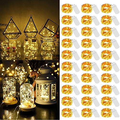 LED Fairy Micro String Lights, Mini Battery Operated String Lights 30 Pack 20 LED Waterproof Lights Starry String Light for Christmas DIY Bedroom Garden Party Decor(Warm White)