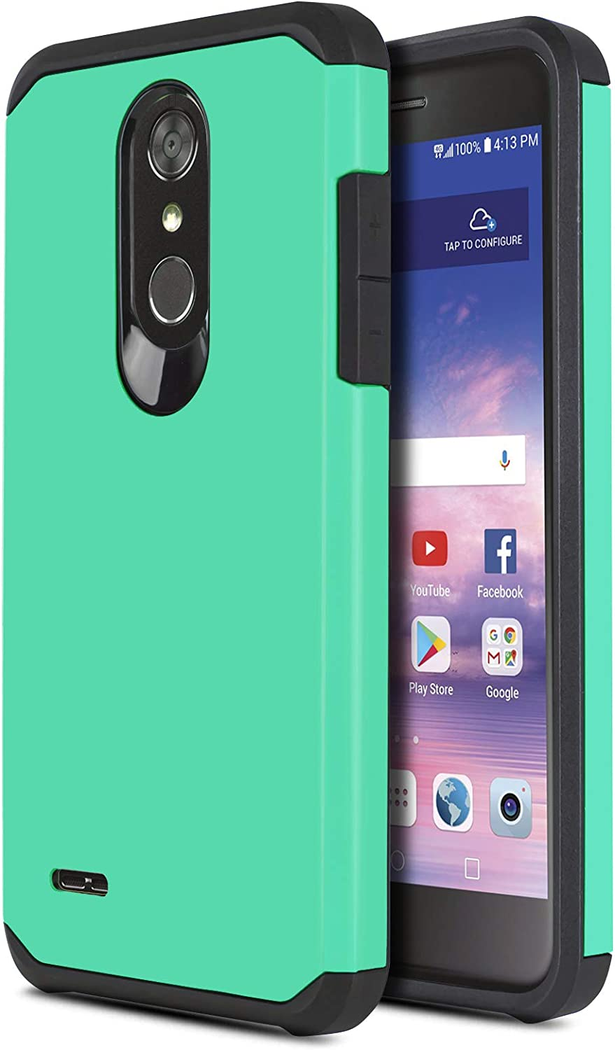 CasemartUSA Phone Case for [LG Premier PRO (L413DL,L414DL)], [DuoTEK Series][Turquoise] Shockproof Cover for LG Premier Pro LTE (Tracfone, Simple Mobile, Straight Talk, Total Wireless)