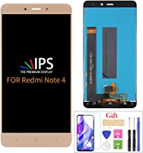 Compatible with XIAOMI Redmi Note 4 LCD Display Screen Replacement,for XIAOMI Redmi Note 4 Display LCD Panel Repair Parts Kit,with Tempered Glass+Tools(NOT Note 4X) (Gold no Frame)