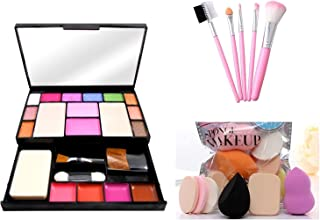 PRO TYA Fashion color Makeup kit For Girls + Sponge Makeup 6 In 1 Beauty Blender Puff + Hello kitty 5 pcs makeup brushes
