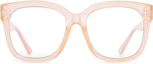 JIM HALO Blue Light Blocker Glasses for Women Oversized Square Computer Glasses Reduce Eye Strain Apricot