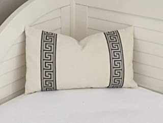 alerie Sassoon Ivory Velvet with Pewter Gray Greek Key Tape Lumbar Designer Pillowcase Cover Other Trim Colors Available