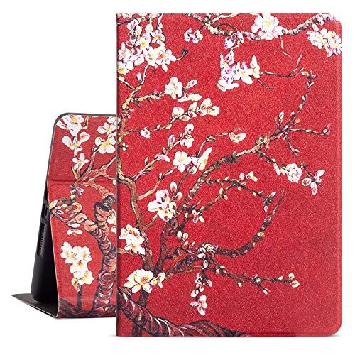 Drodalala 10.2 inch iPad Case for Women Girls,8th Generation iPad Case,iPad 7th Generation Protective Cover,Premium Leather Soft TPU Adjustable Viewing Stand iPad 10.2 Case-Auto Wake/Sleep(Red Flower)