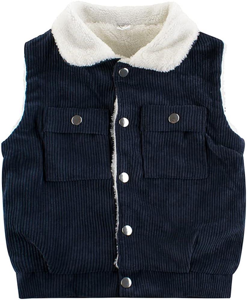 Kids Boys Girls Sleeveless Autumn Fleece Winter Warm Vest Outwear Jacket Waistcoats Clothes