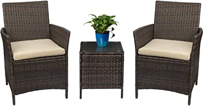 PE Rattan Wicker Chairs Garden Tables and Chairs for Patio Porch Furniture Sets with Table Outdoor Garden Furniture Sets w...
