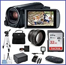 Canon VIXIA HF R800 Full HD Camcorder Travel Bundle, Includes: 32GB SDHC Memory Card, LED Light, Telephoto Lens, Tripod, Spare Battery and More.