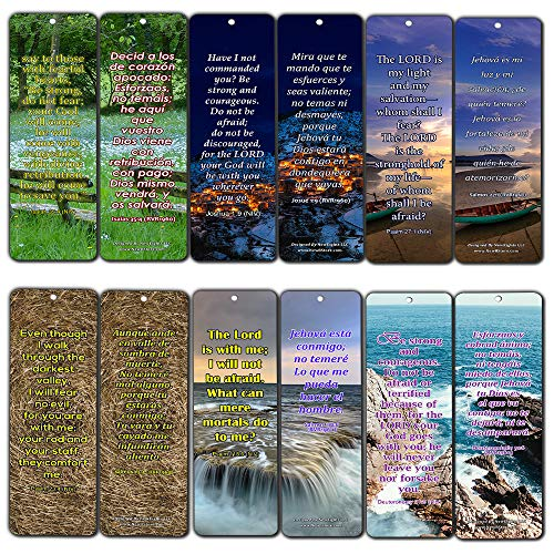 Bilingual Encouraging Bible Verses Bookmarks - Overcome Fear (60-Pack) - Compilation of Motivational Bible Verses in English and Spanish