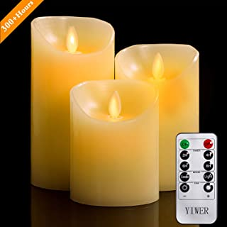 "YIWER Flameless Candles, 4"" 5"" 6"" Set of 3 Real Wax Not Plastic Pillars,.."