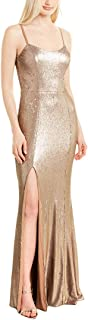 Dress the Population womens Ingrid Sleeveless Sequin Long Gown with Slit Dress Dress