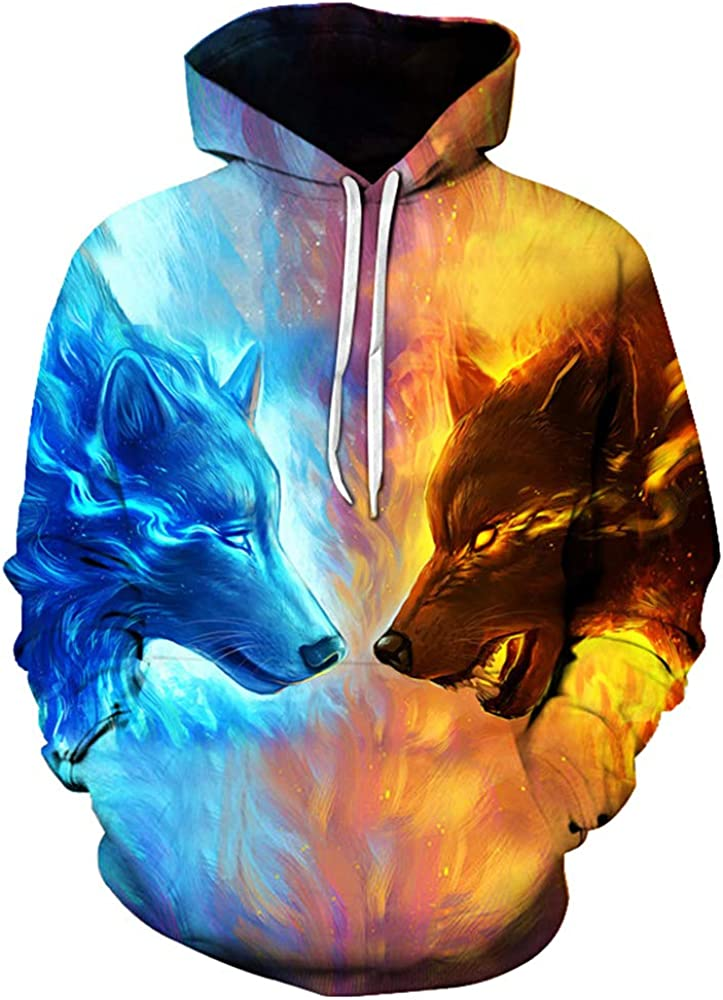 KANIGD Men's 3D Novelty Print Hoodies Sales for sale Sleeve Wolf Max 74% OFF Long Pattern F