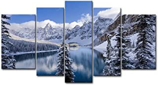 So Crazy Art 5 Piece Wall Art Painting Moraine Lake Banff National Park Snow Mountain Trees Prints On Canvas The Picture Landscape Pictures Oil For Home Modern Decoration Print Decor For Decor Gifts