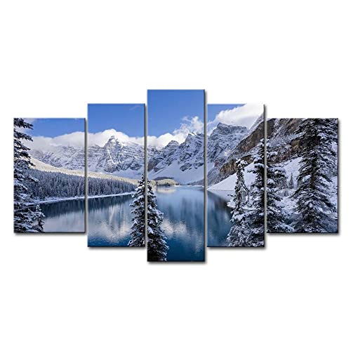 5 Piece Wall Art Painting Moraine Lake Banff National Park Snow Mountain Trees Prints On Canvas The Picture Landscape Pictures Oil For Home Modern Decoration Print Decor For Decor Gifts