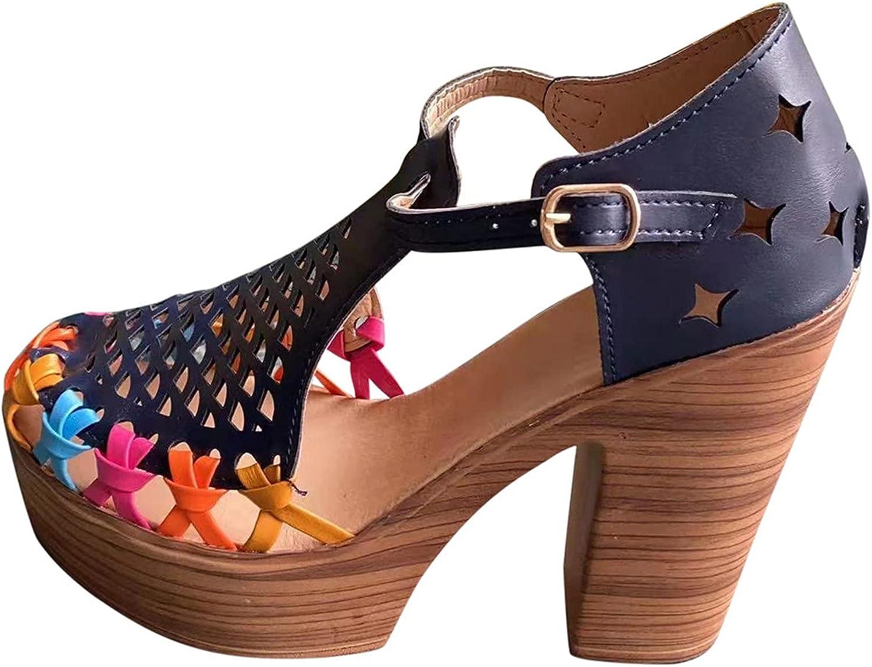 ZiSUGP Women's Summer Fashion Retro Round Head Hollow Thick Heel
