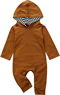 Newborn Baby Boys Girls Romper Toddler One Piece Solid Color Outfits Long Sleeve Hoodie Playsuit Jumpsuits Clothing