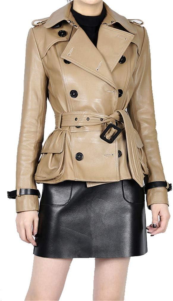 Women's Jacket Sheep Leather Long Sleeves Lapel Casual Rock Motorcycle Moto Coat Outwear,Khaki,XL