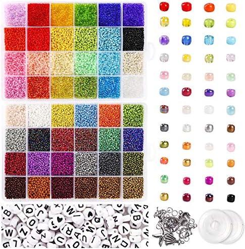 UOONY 35000 pcs Bracelet Beads for Jewelry Making Kit Bead Craft Kit Set 2mmGlass Seed Letter product image
