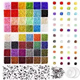 UOONY 35000 pcs Bracelet Beads for Jewelry Making Kit, Bead Craft Kit Set, 2mmGlass Seed Letter Alphabet Beads DIY Art and Craft with 2 Rolls of Elastic String Cord and 10 Charms and Rings