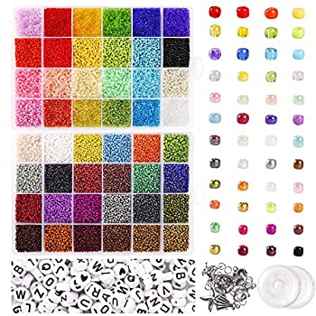 UOONY 35000pcs Glass Seed Beads and 250pcs Alphabet Letter Beads 2mm Bracelet Beads for Jewelry Making Kit Beads Craft Set for DIY Art and Craft with Rolls of Elastic String Cord Charms and Rings